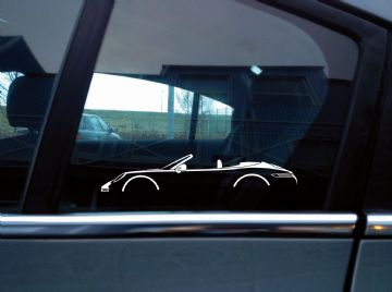 2x sports Car Silhouette stickers - Porsche 911 Carrera Cabriolet ( 992 ) | convertible